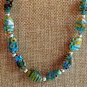Millefiori Glass Beaded Sterling Silver Necklace